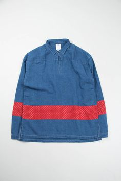 Navy Chambray Kerchief Border Tunic Shirt | Visvim