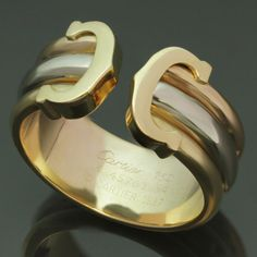 CARTIER Double C Decor Tri Gold Open Band Ring