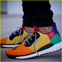 10f2852624db Pharrell adidas Solar Hu Glide ST Early Look rainbow colorway boost midsole  yellow orange blue pink black white green pattern laces collaboration drop  on ...