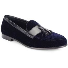 Giorgio Armani Textured Velvet Tasseled Loafers : Giorgio Armani Shoes ($875) ❤ liked on Polyvore featuring men's fashion, men's shoes, men's loafers, apparel & accessories, navy, navy blue mens shoes, mens tassel loafer shoes, mens formal shoes, mens loafer shoes and mens velvet shoes