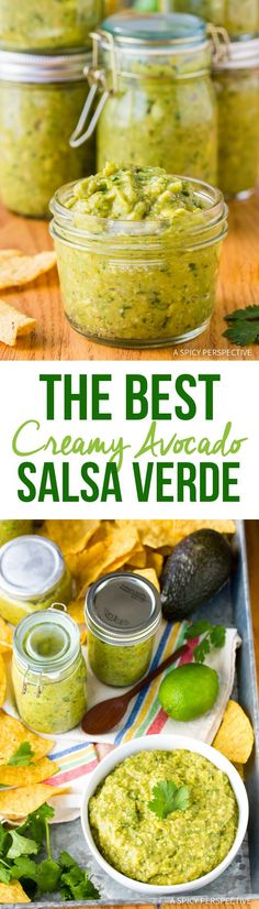 The Best Creamy Avocado Salsa Verde Recipe (Tomatillo Salsa Verde with Avocado!) via @spicyperspectiv