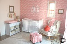 Wallpapered #nursery accent wall - love the monogram!