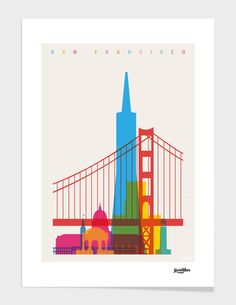 """""""Shapes of San Francisco"""" Graphics/Illustration art prints and posters by Yoni Alter Illustration Inspiration, City Illustration, San Francisco Art, San Francisco Skyline, Graphisches Design, Scale Art, Photo Vintage, Design Poster, Arte Pop"""