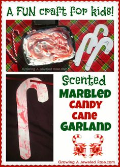 To make the candy cane garland you will need:    ~  Candy cane shape cut outs (we made ours out of white card stock- a thicker paper is preferable)   ~ A shallow container of candy cane paint wide enough to dip the paper candy canes in  ~  A scraper ( I used a small empty box top)  ~  Yarn or string