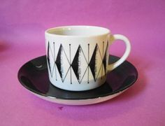 MAGAMBO Pattern. Black saucer  balck  white patterned cup, ICONIC for its use in the Original GREGGS Coffee Commercial in the 70`s Greggs, The Dish, White Patterns, Teacups, Cup And Saucer, Dinnerware, Spoon, Commercial, Porcelain