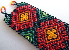 Mexican Huichol Beaded bracelet by Aramara on Etsy Seed Bead Bracelets, Seed Beads, Mexican Designs, Brick Stitch, Beaded Flowers, Bead Art, Bead Weaving, Beaded Embroidery, Cross Stitch Patterns