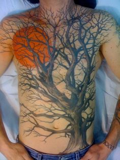 Use the Orange Moon to cover my clover. Use a silhouetted Pine Tree to cover my black lines (or, a mix of Pine & Oak).