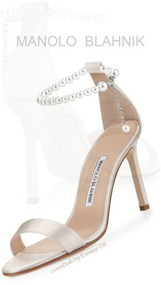 Emmy DE * Manolo Blahnik Chaos Pearly Ankle-Wrap Sandal
