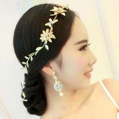 Bridal leave flower gold tone rhinestone party crown headpiece Hair tiara HR468 #Unbranded