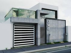 incredible facade, mixture of shapes and materials! Modern Garage, Modern Exterior, Exterior Design, Residential Architecture, Contemporary Architecture, Interior Architecture, Facade House, Modern House Design, My House