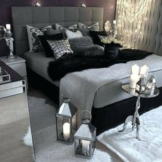 Bedroom Black Grey Modern Interior Design Ideas 10 Great Tips To Use . Dark Room Colors And Vibrant Wall Paint Changing Interior . Home and Family Black And Grey Bedroom, Black Bedroom Decor, Room Ideas Bedroom, Bedroom Wall, Girls Bedroom, White Bedrooms, Bedroom Furniture, Master Bedrooms, Gothic Bedroom