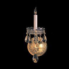 Crystorama 1101-PB-CL-SAQ 1-Lights Swarovski Spectra Crystal Wall Sconce - Polished Brass