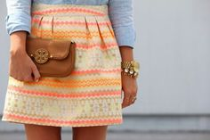 skirt structure and feminine color combos! With a button up blouse and tory burch clutch. just love.