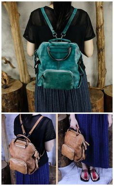 Handmade Genuine Leather Hand Bag Convertible Backpack for Women Casual  Leather Backpack Hiking Bag eba21a274211d