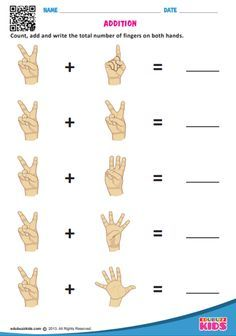 Math addition with fingers worksheets for the kids of kindergarten. These are free printable worksheets & prepared according to common core standards. Here the kids have to count, add and write the total number of fingers on both hands. #KindergartenWorksheets #WorksheetsForKids #AdditionWorksheets #MathWorksheets #Edubuzzkids