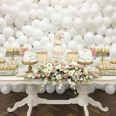 regram @cakesbyjoannecharmand Yesterday's christening !! Styling, cakes and desserts @cakesbyjoannecharmand Balloon wall @floating.designs Table @prop.my.party Floral @floralsandpropsbycharlene Eclairs and tarts @copperandcocoa Cake topper @copperandcocoa
