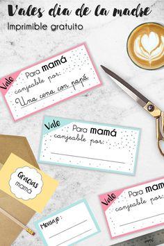 Kit imprimible gratuito para día de la madre 2017. Incluye vales canjeables, tarjetas, etiqueta y banderines.| Dia de la madre | Mother's Day | Printable | Imprimible gratuito | Regalo | Favor Cards | Crafts.