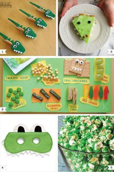 Alligator Party Ideas - Great for Ocean and Water Themed Parties- add a Mouth… Alligator Party, Alligator Birthday Parties, 1st Birthday Parties, 4th Birthday, Themed Parties, Dinosaur Party, Crocodile Party, Crocodile Costume, Swamp Party