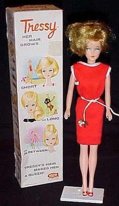 I didn't get a Barbie when I was little, I got Tressy. Her hair grew. My Childhood Memories, Childhood Toys, School Memories, Vintage Barbie, Vintage Dolls, Vintage Makeup, Vintage Stuff, Vintage Clothing, Nostalgia