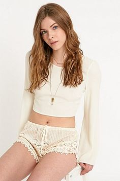 Band of Gypsies Dolphin Lace Shorts in Ivory