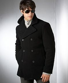 Hottie in a Kenneth Cole Reaction Wool Pea Coat-- My boyfriend could totally pull this off :3