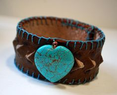 Turquoise Heart Leather Ostrich bracelet
