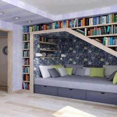 Under stairs library & cosy seating