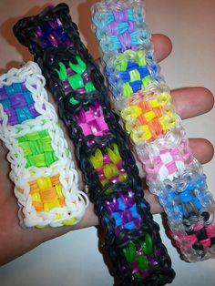 Checker Bracelet on Rainbow Loom, Fun Loom, and Crazy Loom. Rainbow Loom Tutorials, Rainbow Loom Patterns, Rainbow Loom Creations, Rainbow Loom Bands, Rainbow Loom Charms, Rainbow Loom Bracelets, Loom Love, Fun Loom, Cool Stuff