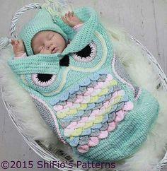Crochet owl baby snuggler