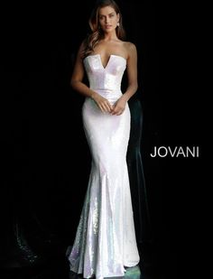Details:White sequin fitted long prom dress with strapless fitted bodice and plunging v-neckline, invisible back zipper closure and floor length fitted skirt with lightly flared end.  tNeckline:V-Neck tWaistline:Natural tClosure:Invisible back zipper tJovani65069 #fitness #fitnessplanner Jovani Wedding Dresses, Fitted Prom Dresses, Strapless Prom Dresses, Jovani Dresses, Mermaid Prom Dresses, Pageant Dresses, Wedding Gowns, Evening Dresses, Mermaid Skirt