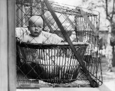 A baby cage in London in 1936