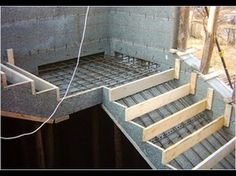 Construction of concrete stairs includes steps such as designing, preparing foundation, building formwork, placement of reinforcement steel bars, Concrete Staircase, Concrete Steps, Concrete Garden, Concrete Design, Home Stairs Design, Interior Stairs, Building Stairs, Building A House, Building Foundation