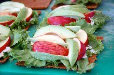 sandwich of lettuce, avocado, gala apple and creamy, garlicky aïoli on pain germe (spicy, sundried tomato 'bread')