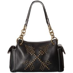 M&F Western Claire Satchel (Black) Satchel Handbags ($59) ❤ liked on Polyvore featuring bags, handbags, studded satchel purse, satchel style handbag, studded handbags, western handbags and handbag satchel