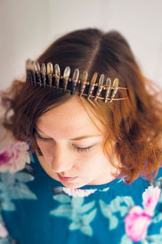 Plain and classy design crystal wedding crown with created golden glass quartz points - just perfect for anyone looking for a great hairpiece within