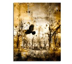 Gothic Decor Print Golden Surreal Crow Image by gothicrow on Etsy