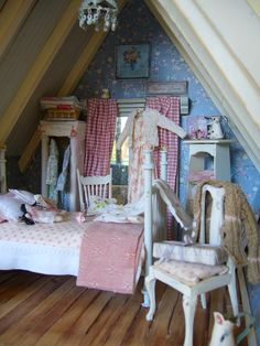 Frederica's Little World  This looks like Liberty Biberty's cottage bedroom!