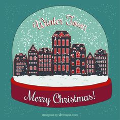 Winter town inside a snow globe Free Vector
