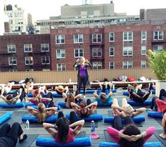 Rooftop yoga at CLAY Health Club & Spa.