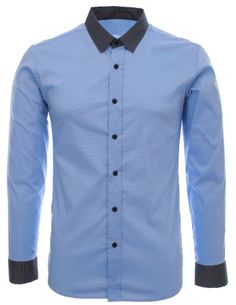 Shop FLATSEVEN Mens Designer Slim Fit Contrast Two-Tone Long Sleeve Shirts Navy, XL. Slim Fit Casual Shirts, Men Casual, Love Jeans, Attractive Men, Contrast Collar, Mens Fashion, Shirt Dress, Plaid, Mens Tops