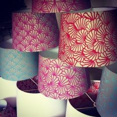 Patterned Lampshades Small Hand Drawn Patterned Lampshades Outer Design On Etsy  For