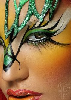 Green, yellow, gold and black face paint #makeup