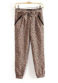 Pantalones sueltos tiro medio con cinto-Leopardo EUR23.69