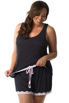 5e13e5e7a59 Velvet Kitten Plus Size Tank Top   Short Pajama Set 562856x at Amazon  Women s Clothing store