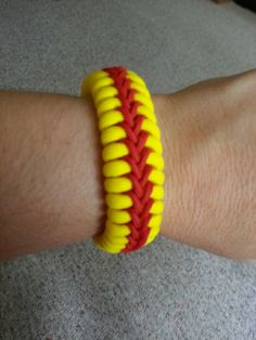 Who likes softball?? Handcrafted single stitched paracord bracelet. Made to order for your wrist size. $12.00  plus $3.00 for shipping.
