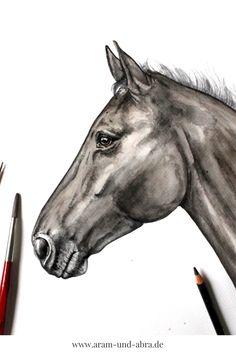 #Pferd malen lassen | Aquarell | Portrait | Zeichnen | Ideen | kreativ | Kunst | Tierportrait | Hunde | Trakehner | reiten | Reitsport | Aram und Abra | www.aram-und-abra.de