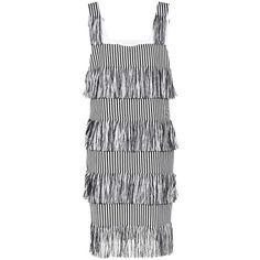 Prism Nevis Fringed Cotton Dress (€510) ❤ liked on Polyvore featuring dresses, black, fringe dress, cotton dress and cotton day dresses