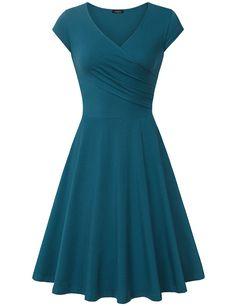 Elegant Dresses, Laksmi Womens Casual Dress A Line Cap Sleeve V Neck at Amazon Women's Clothing store: