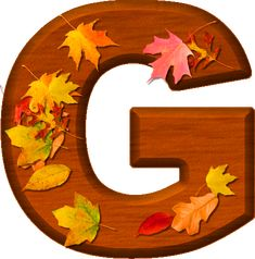 Presentation Alphabets: Cherry Wood Leaves Letter G Monogram Alphabet, Alphabet And Numbers, Lettering Design, Hand Lettering, Frozen 1, Fall Fest, Happy Fall Y'all, Thanksgiving Decorations, Thanksgiving Ideas