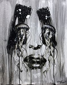 """Aurelia"" - Tom French, oil on panel, 2014 {expressionist female head #surreal jellyfish eyes diptych woman face monochrome painting drips} tomfrenchart.wordpress.com"